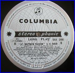 SAX 2446-50 ED1 Bach St Matthew Passion Klemperer 5xLP NEAR MINT Columbia B/S