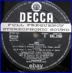 SXL 2167-8-9 ED1 Verdi Aida Tebaldi Karajan 3xLP NEAR MINT Decca WBG 1st